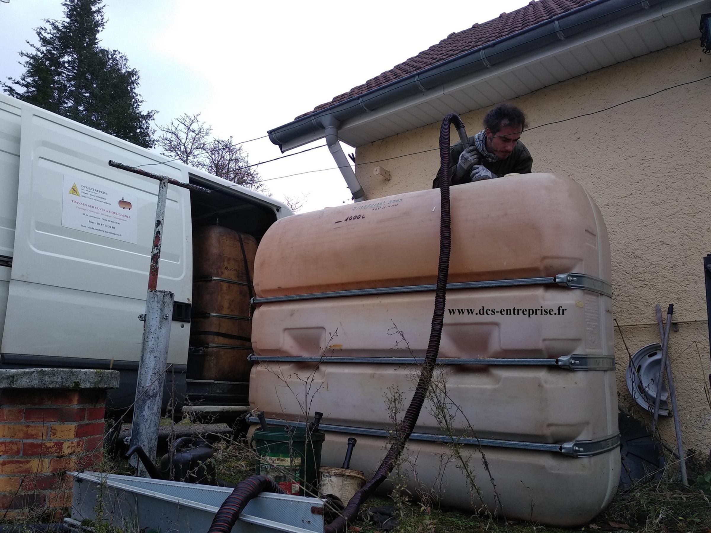 Nettoyage d'une cuve à fioul à Lomont