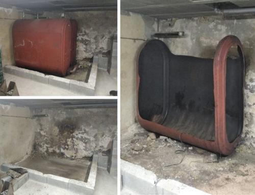 Dépose de deux cuves fioul métalliques de 1800 litres chacune à MELISEY en Haute-Saône (70)