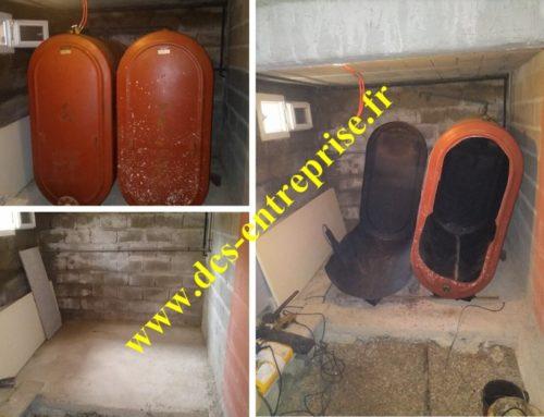 Découpage de deux cuves fioul de 1800 litres chacune à CEINTREY (54134)